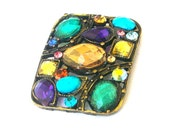 1 multicolor 2 hole slider bead, button or spacer bead, crystal
