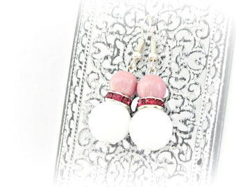 White and pink delicate glass and ceramic earrings with Swarovski fuchsia rhinestones