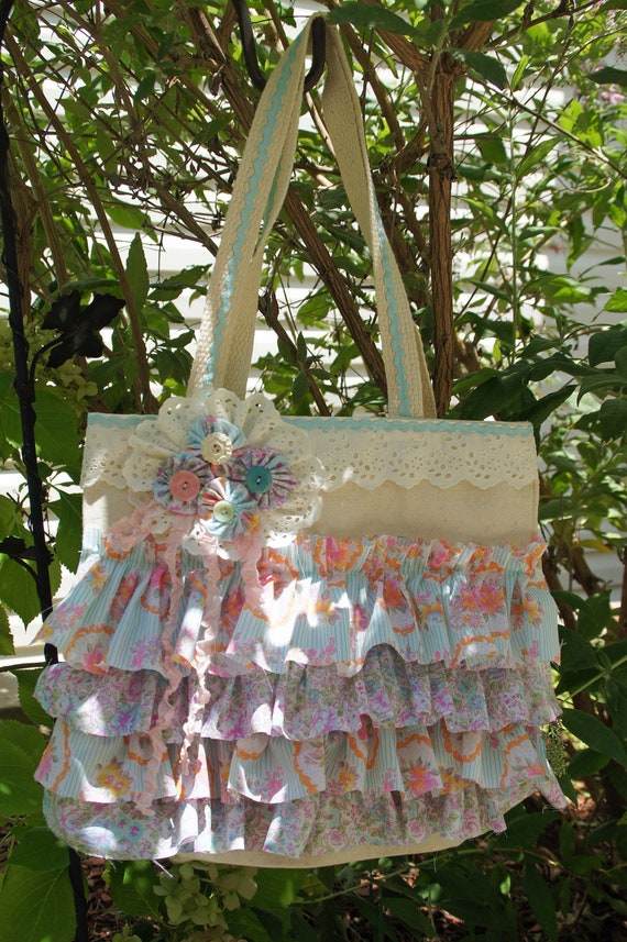 RESERVE ITEM for Kambria: Cotton Candy Ruffled Tote Bag- Pale Aqua