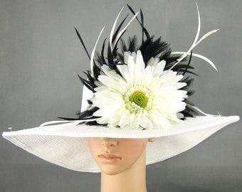 Derby Hat Wedding Hat Dress Hat ........Church Kentucky Derby Wide Brim Hat Womens Dress Wedding Tea Party Ascot