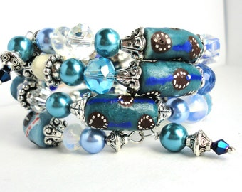 ICE TEAL TWISTER Bracelet- Featuring Handmade African Krobo Trade Beads, Moonstone and Silver