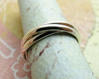 Rolling Ring, Sterling Silver, Interlocking Wedding Bands, Russian Marriage Ring, Set of 3