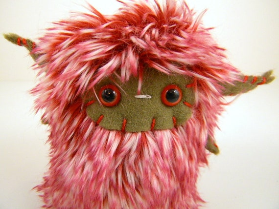 Alejandro the plush monster miniature red white and tan stuffed animal horned Little Uggle