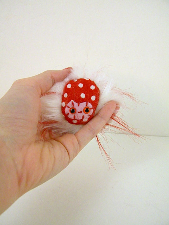 INVENTORY SALE Dottie the plush monster miniature red white pink Boogah-bean.