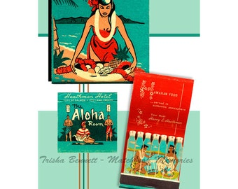 Hawaiian Island PRINT or POSTER Aloha Room Matchbook Art Hawaiian Girl Bar Decor Beach Wall Art Hawaii Tropical Decor Tropical Poster Gift