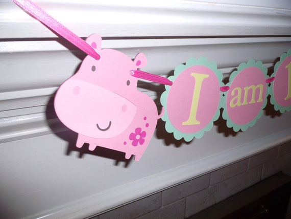 "Girl HIPPO high chair banner ""I am 1"" girl birthday. first birthday. hippo decorations,hippo birthday.hippo or safari theme"