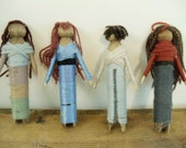 4 Vintage Clothes Pin Dolls - Antique Clothes Pins - Holiday Tree or Wreath Decorations - Assemblage - Jewelry