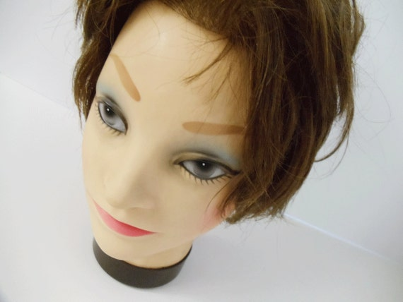 Vintage Mannequin Head - Jewelry or Hat Display - Dark Auburn Hair - Cosmetology Practice - Photo Prop