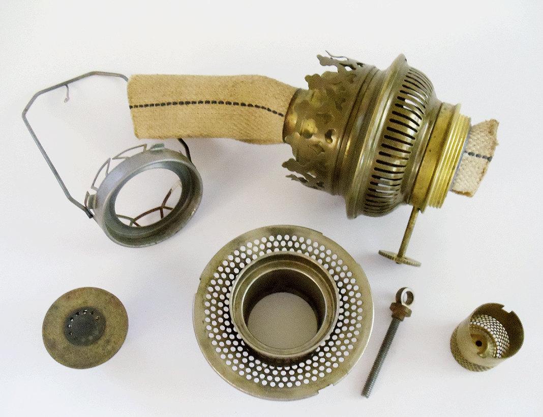 Vintage Oil Lamp Replacement Parts Brass Supplies 6 Piece