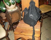 Hand Laced Black Deerskin fully lined in deep red/wine Leather DreIdel Bag Purse