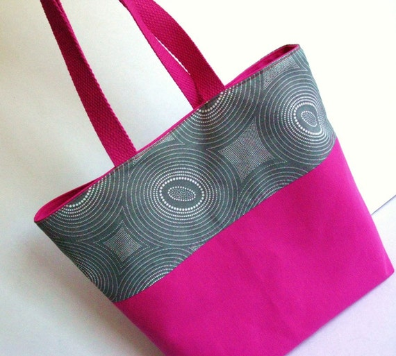 Cotton Tote, Pink and Gray