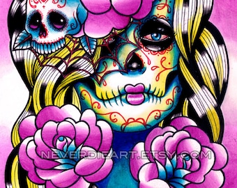 Tattoo Art Print Signed - Day of the Dead Sugar Skull Girl - Wash Away Art Print By Carissa Rose 5x7, 8x10, or Apprx. 11x14 inches