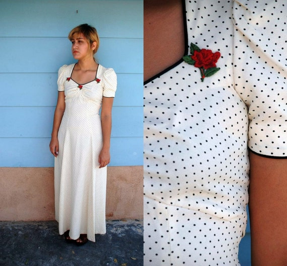 1970's does 1940's. white and black. polka dot. rose applique. maxi gown