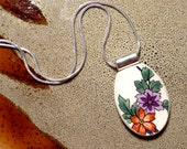 RECYCLED BROKEN CHINA Plate Necklace - Flowers