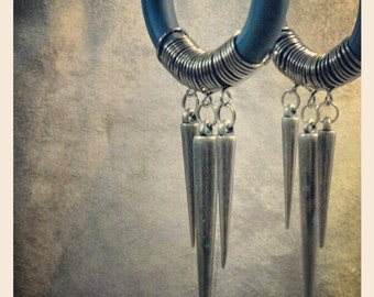 Fakers - Leather and Spikes  - Earrings for Stretched Lobes - Faux Gauges
