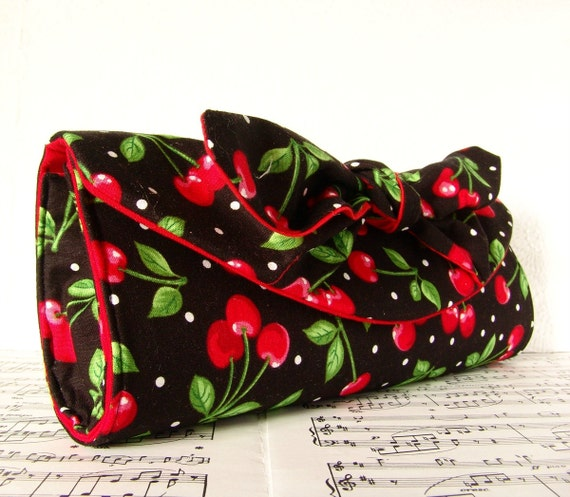 Cherry rockabilly clutch purse Black and red clutch bag with bow, Made to Order