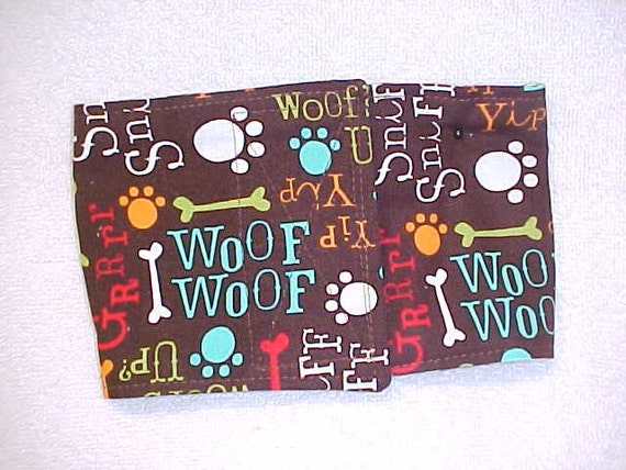 Male Dog Belly Band Diaper Wrap  Woof Woof Custom Sizes To 22 Inches