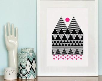 Two Peaks screen print in Pitch Black & Neon Pink