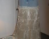 Crème de la Crème jean skirt creamy ivory velvet exquisite vintage French lace Renaissance Denim Couture bohemian fairy goddess