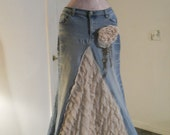 Belle Époque jean skirt creamy ruffled silk ultra femme beige lacy bohemian beach goddess mermaid Renaissance Denim Couture Made to Order