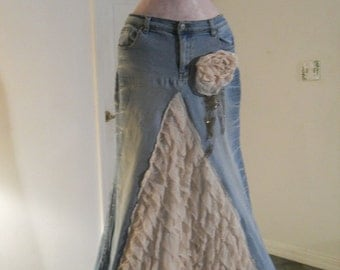 Belle Époque jean skirt creamy ruffled silk  beige lacy bohemian beach goddess mermaid Renaissance Denim Couture Made to Order
