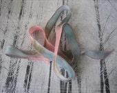 Silk Fairy Ribbons - Hand Dyed Painted Habotai Silk Wrap Bracelet - pink blue pebble - DIY Bracelet - Jewelry Supply - silk
