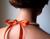 Pearl And Ribbon Necklace In White Swarovski Crystal Pearls With Tangerine Satin Ribbon