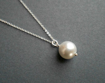sterling silver pearl necklace | pearl necklace bridal | pearl necklace wedding | bridesmaid necklace | pearl necklace pendant | white pearl