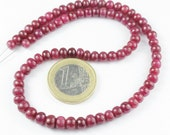 13 Inches - 4.5-6.5mm - Natural Africa Red Ruby Smooth Roundel Beads Strand - JE 7050