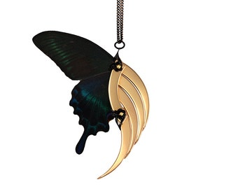 PERIS / Nocturnal Butterfly Large Gold Blade Wing Pendant / Free Shipping