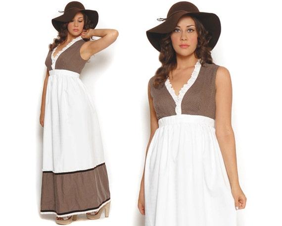60s Maxi Dress Babydoll Brown White Polka Dot Long Length Sleeveless Empire Waist / Hippie Boho / Size M Medium