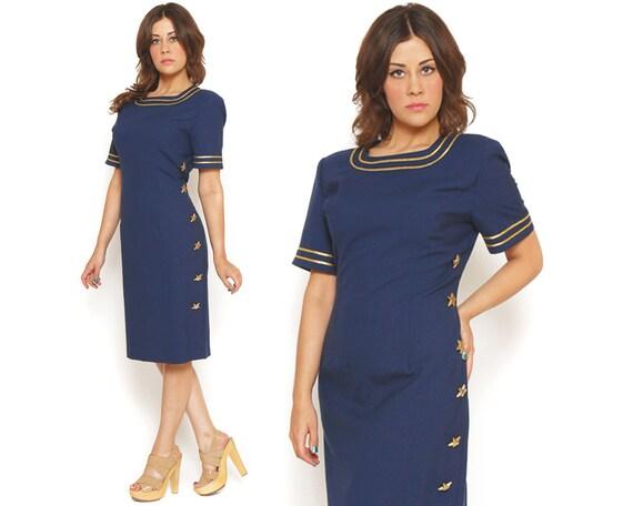 80s Sheath Dress Nautical Navy Blue Gold Stars Bodycon Stewardess Wiggle Rockabilly / Size L XL Extra Large