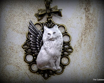 """Cat Angel Necklace, """"Our Little Darlings"""", Charity Item, Memory Necklace, Cat Jewelry, Cat Necklace, Feline Jewelry"""