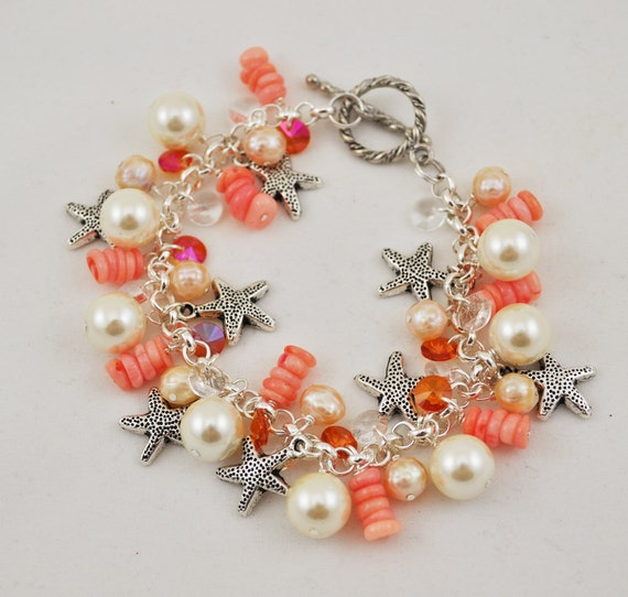 Beach Bracelet, Starfish Charm Bracelet, Shell Beads, Pearls, Bamboo Coral, Swarovski Crystals, Summer Fashion, Peaches and Cream