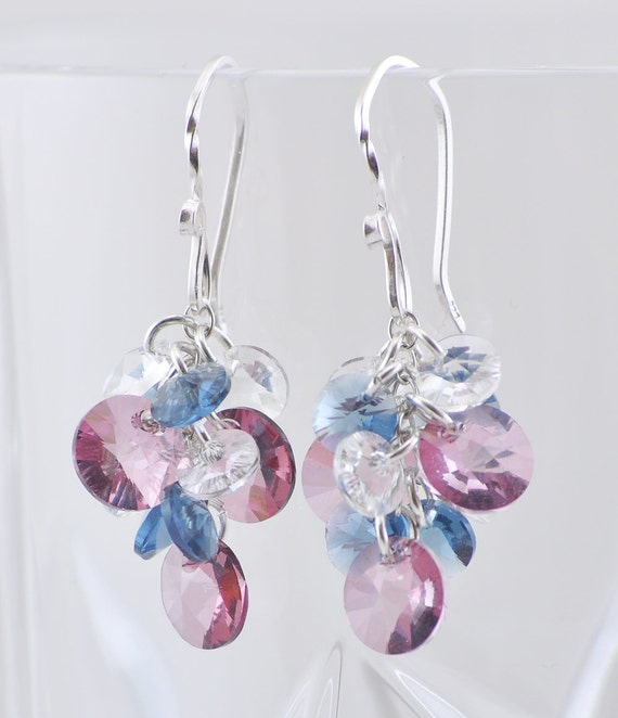 Cluster Earrings, Swarovski Crystal Earrings, Pretty Sterling Silver Earwires, Classy and Fun Jewelry, Denim Blue, Antique Pink, Clear