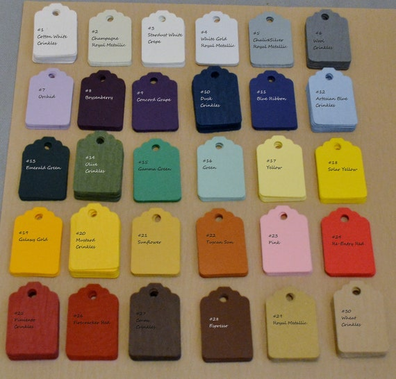 CHOOSE YOUR COLOR Set of 24 Tags with Bakers Twine for One Dollar