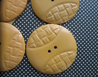 """Large Bakelite Buttons...unusual woven pattern.. 1 1/2""""....new old stock..circa 1930...1930..lot of 4"""
