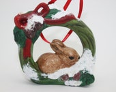 RESERVED FOR JNOTLEY Bunny Wreath Hand Painted Ornament