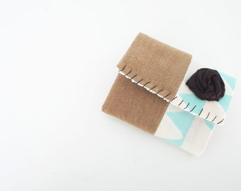 CLEARANCE--Mint, Ivory, Beige Trifold Business Card or Credit Card Holder with Eggplant Rosette