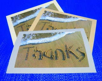 THANKS CARDS - Set of 3 photo blank greeting cards, sand writing, written in the sand with envelopes, mix and match beach writing