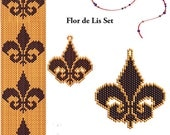 Fleur de Lis Beading Pattern Set - Peyote or Brick Bracelet Earrings and Pendant
