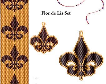 Fleur de Lis Beading Pattern Set - Peyote or Brick Bracelet Earrings and Pendant