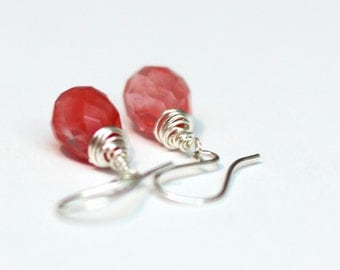 Strawberry Quartz Earrings - Sterling Silver Wire Wrapped Briolette Earring - Cherry Pink Valentine Dangles - Gift for her