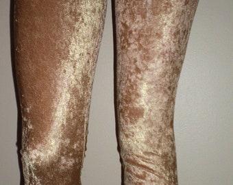 Crushed Velvet Gold Leggings
