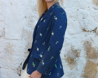 Blue Embroidered Floral Tailored Blazer