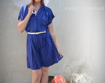 Vintage Navy White Polka Dot Shortie Romper