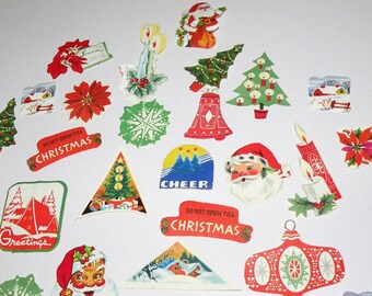 32 CHRISTMAS Stickers from the 1940s to 1950s