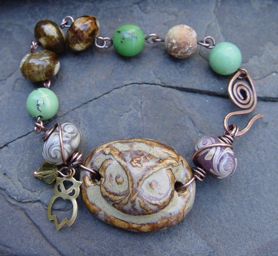 Woodland Owl Stoneware Cuff with Lampwork Chrysoprase Agate and Copper Wire Wrap Bracelet