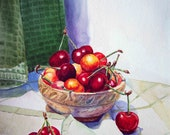 Cherry Painting Garden Art - Cherries - Kitchen Dining Room  Painting  - 5x7 Print