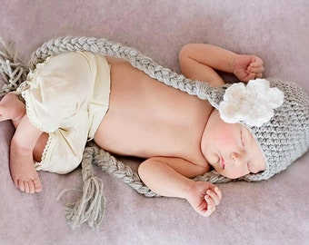 Adorable Baby Hat, Baby Girl Hat, Crochet Hat Braids and Earflaps, Croche Baby Hat With Flower